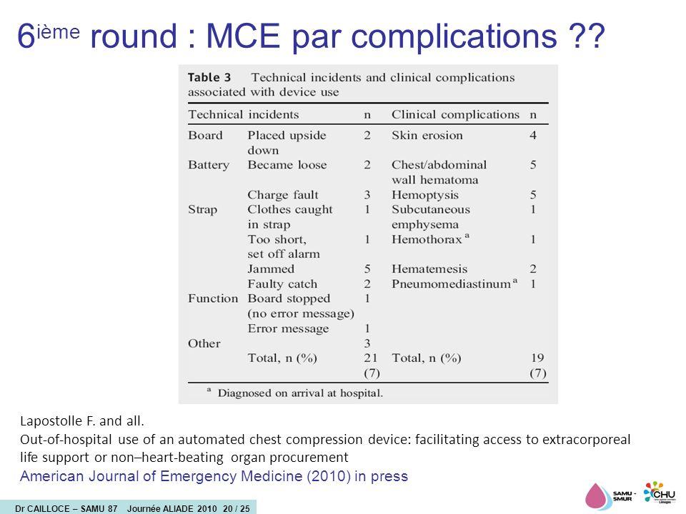 6ième round : MCE par complications