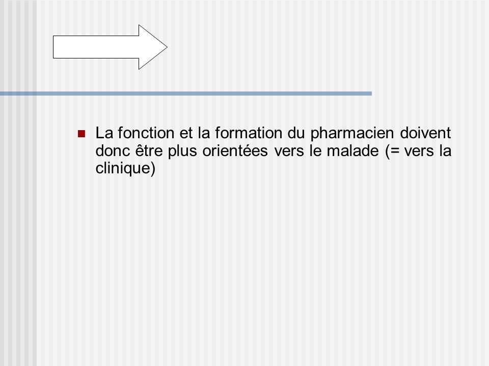 La fonction et la formation du pharmacien doivent donc être plus orientées vers le malade (= vers la clinique)