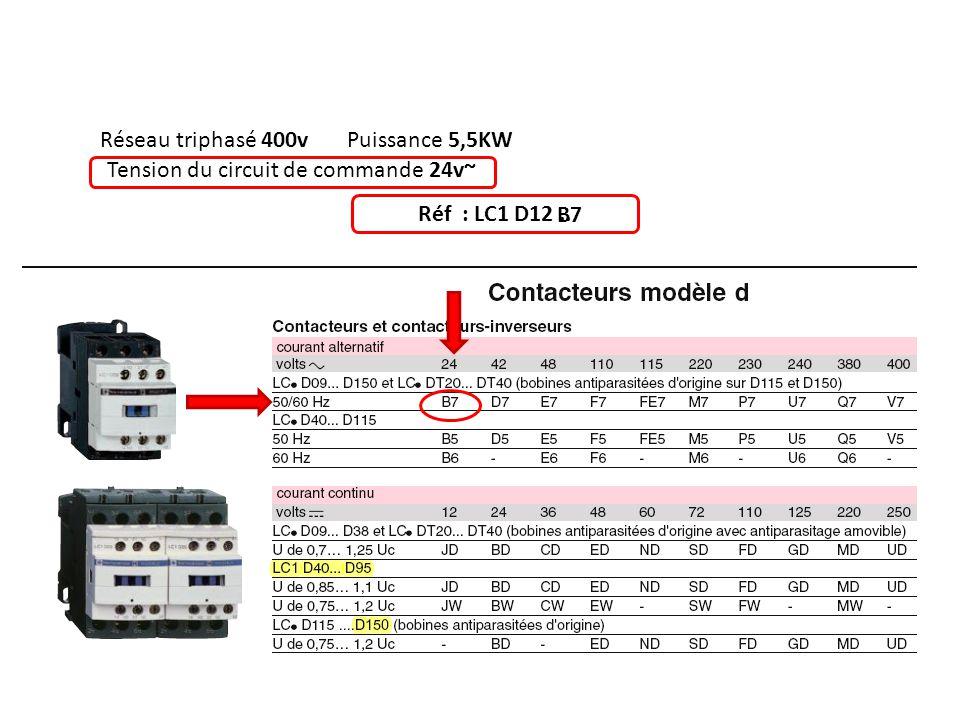 Réseau triphasé 400v Puissance 5,5KW Tension du circuit de commande 24v~ Réf : LC1 D12 .. B7
