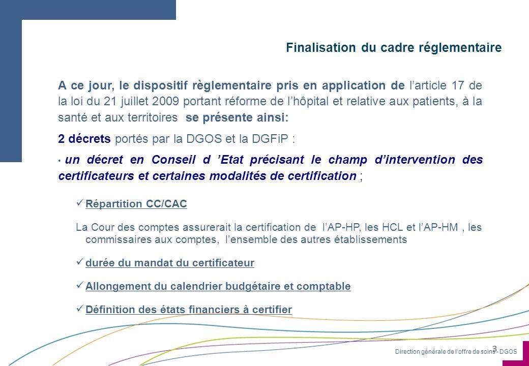 Finalisation du cadre réglementaire