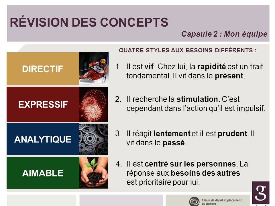 RÉVISION DES CONCEPTS RÉVISION DES CONCEPTS DIRECTIF EXPRESSIF