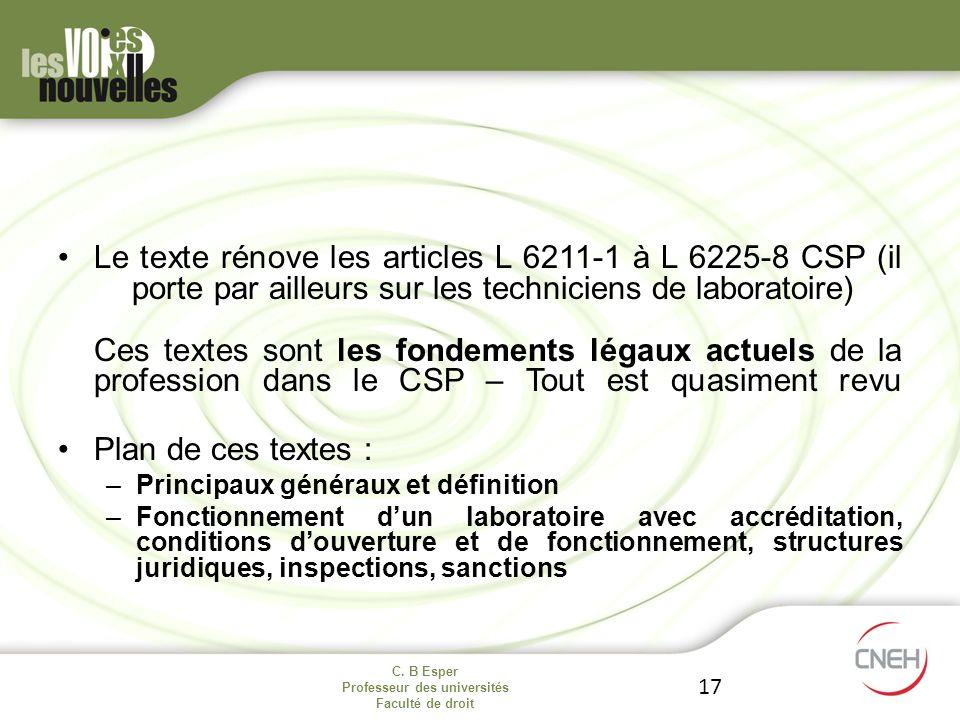 Le texte rénove les articles L 6211-1 à L 6225-8 CSP (il porte par ailleurs sur les techniciens de laboratoire) Ces textes sont les fondements légaux actuels de la profession dans le CSP – Tout est quasiment revu