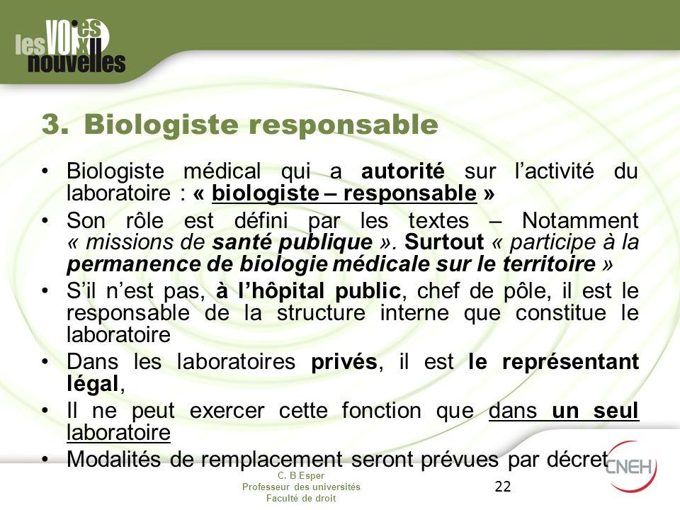 Biologiste responsable
