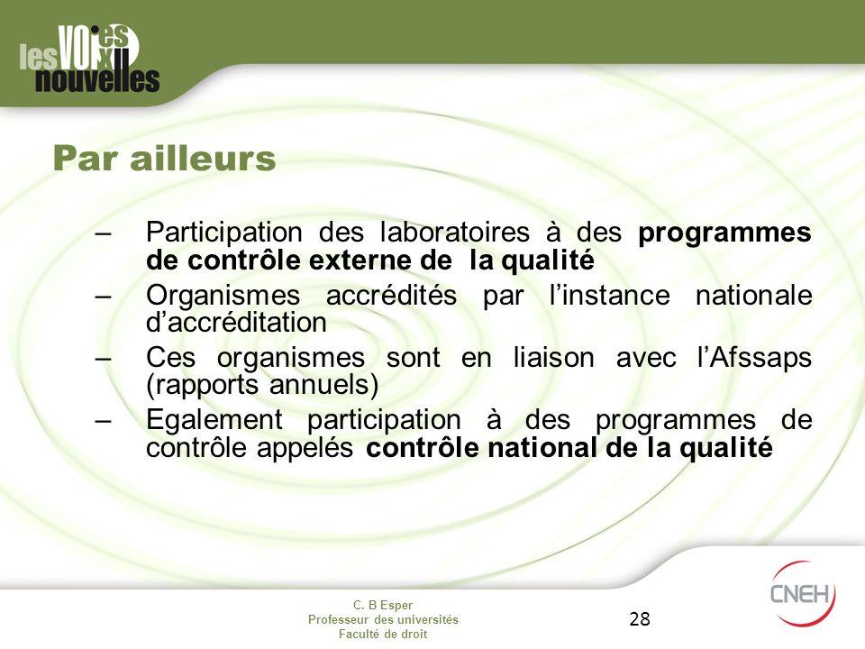 Par ailleurs Participation des laboratoires à des programmes de contrôle externe de la qualité.