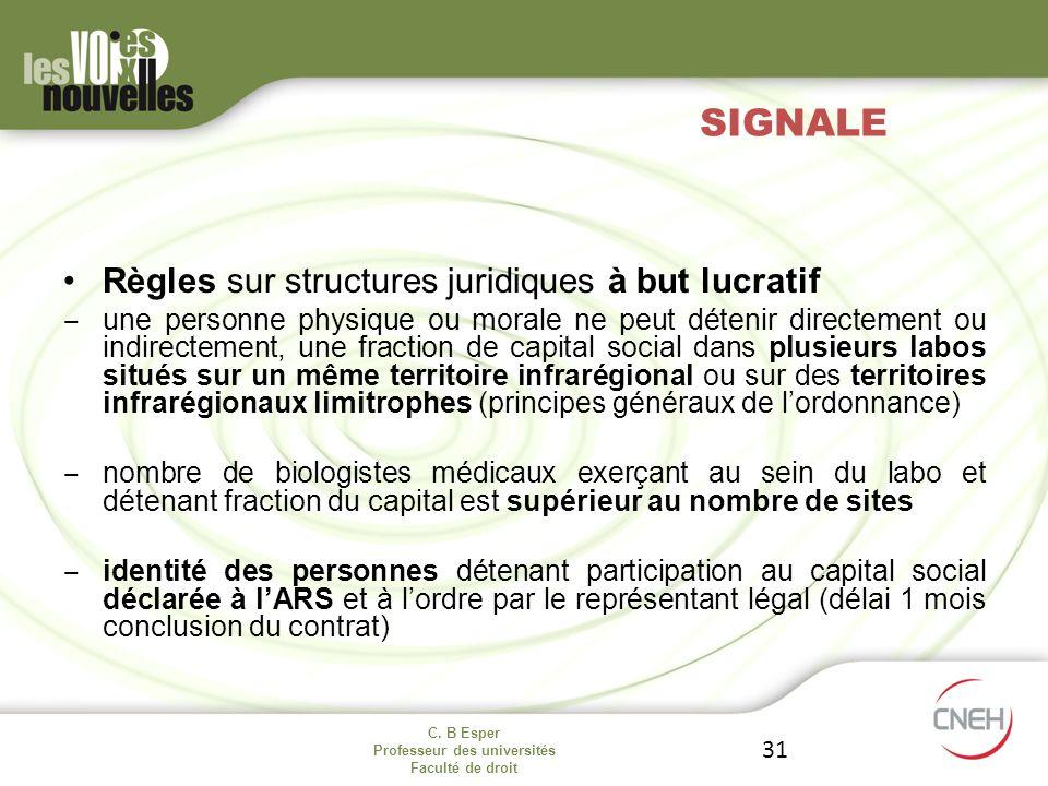 SIGNALE Règles sur structures juridiques à but lucratif