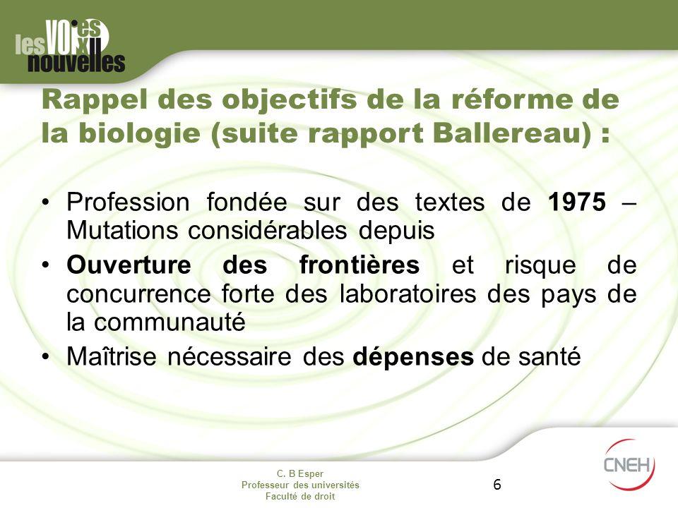 Rappel des objectifs de la réforme de la biologie (suite rapport Ballereau) :