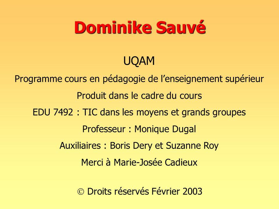 Dominike Sauvé UQAM. Programme cours en pédagogie de l'enseignement supérieur. Produit dans le cadre du cours.