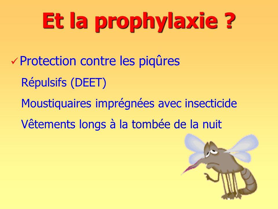 Et la prophylaxie Protection contre les piqûres Répulsifs (DEET)