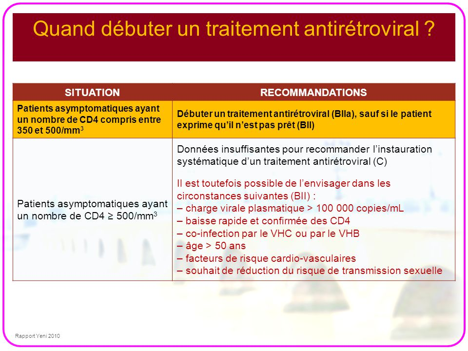 Quand débuter un traitement antirétroviral