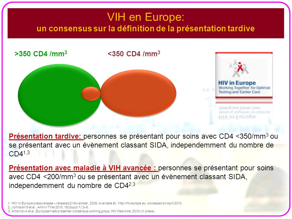 VIH en Europe: un consensus sur la définition de la présentation tardive