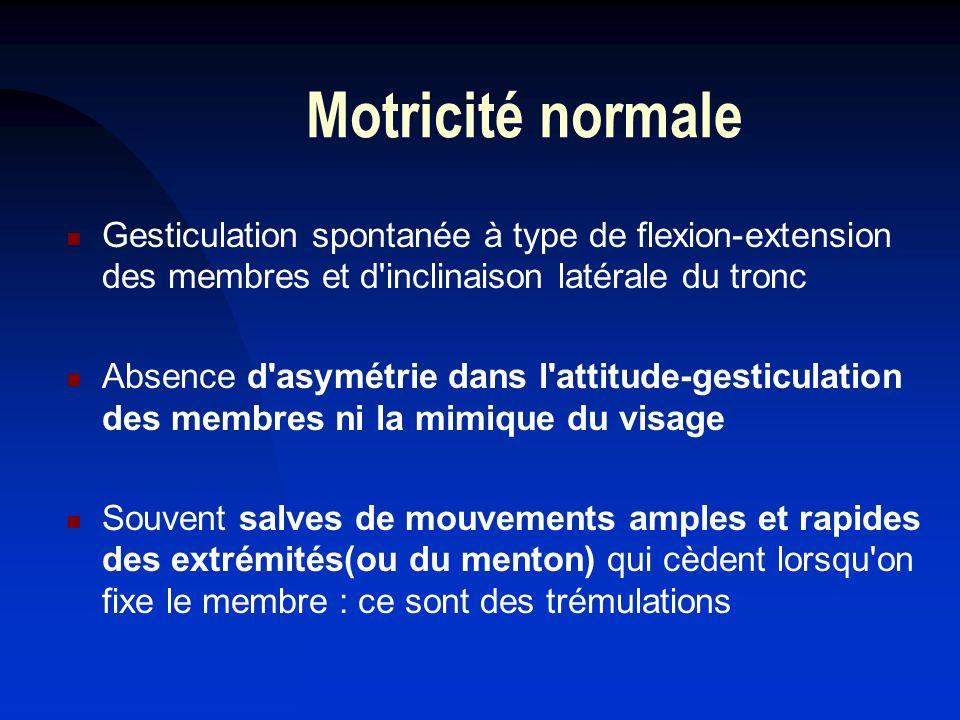 Motricité normale Gesticulation spontanée à type de flexion-extension des membres et d inclinaison latérale du tronc.
