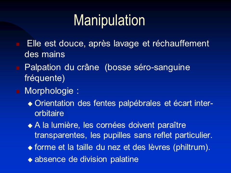 Manipulation Elle est douce, après lavage et réchauffement des mains