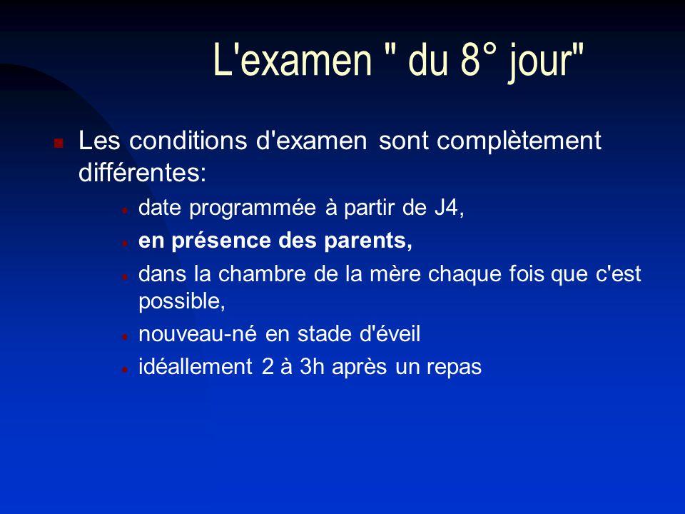 L examen du 8° jour Les conditions d examen sont complètement différentes: date programmée à partir de J4,