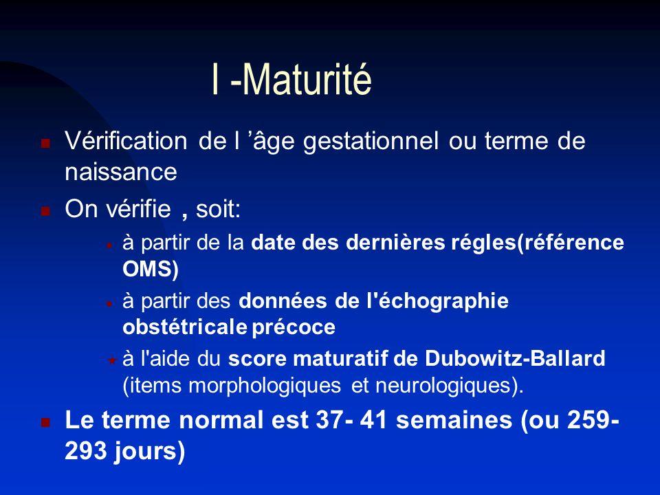 I -Maturité Vérification de l 'âge gestationnel ou terme de naissance