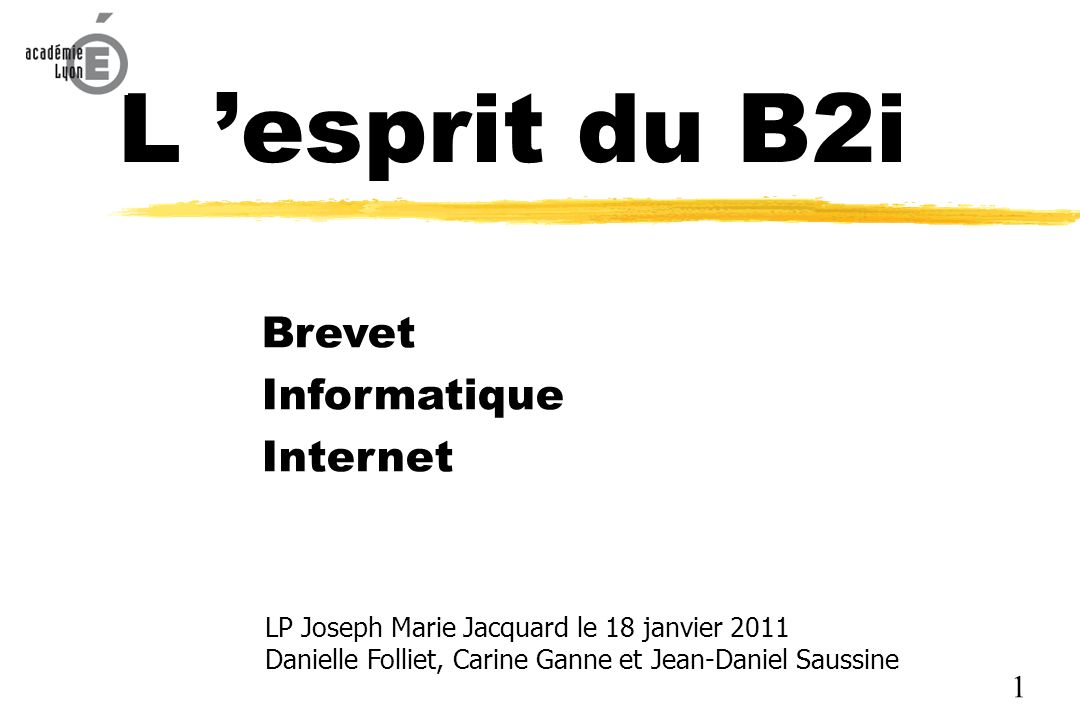 L 'esprit du B2i Brevet Informatique Internet 1