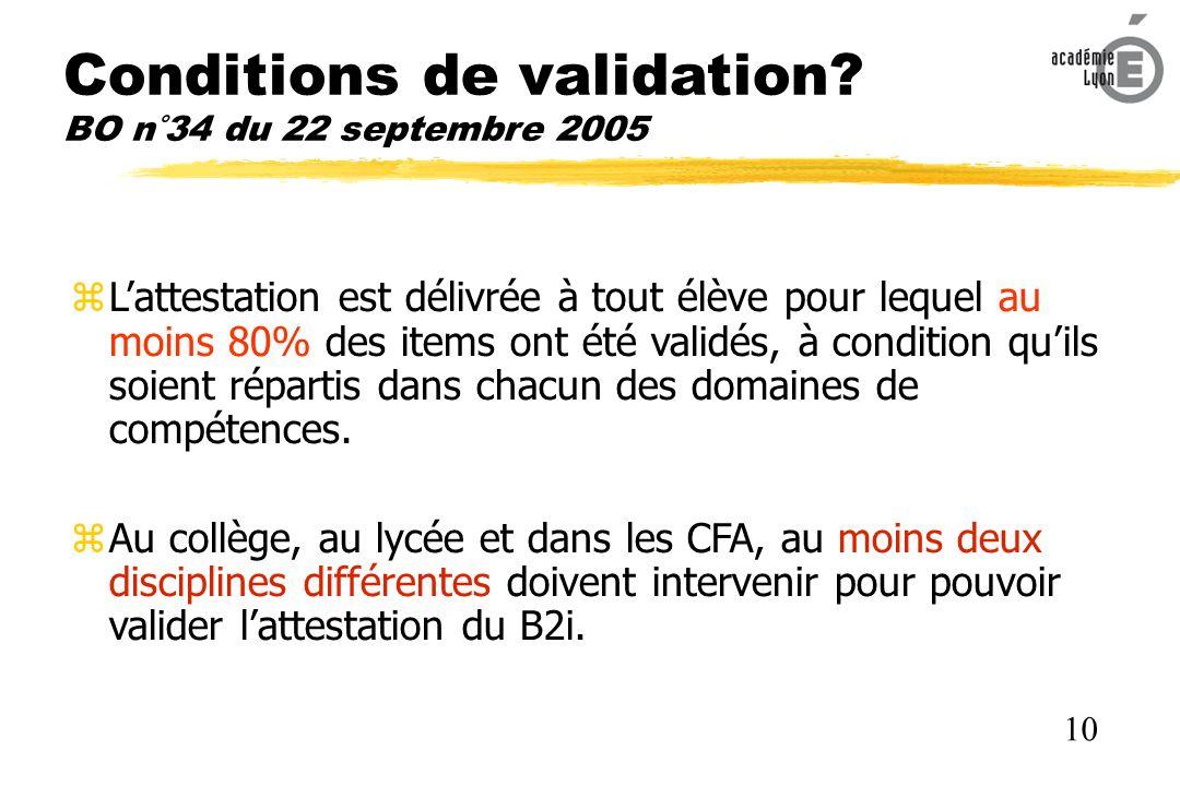 Conditions de validation BO n°34 du 22 septembre 2005