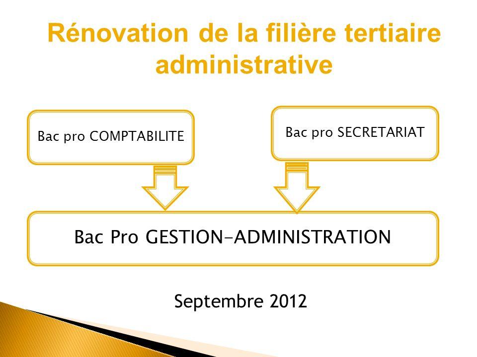Rénovation de la filière tertiaire administrative