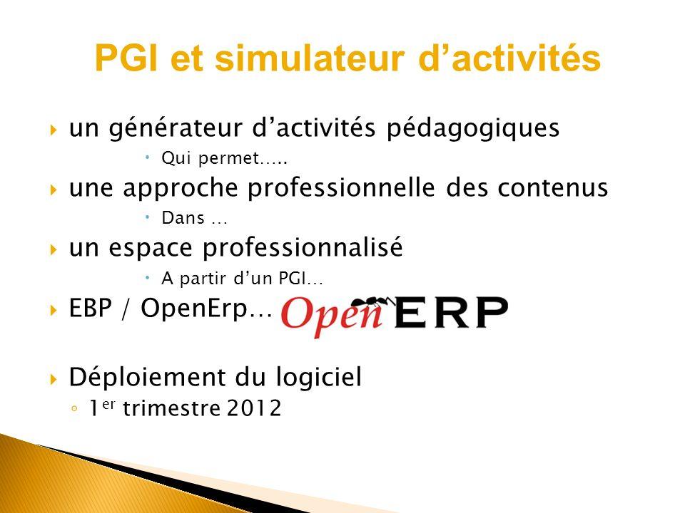 PGI et simulateur d'activités