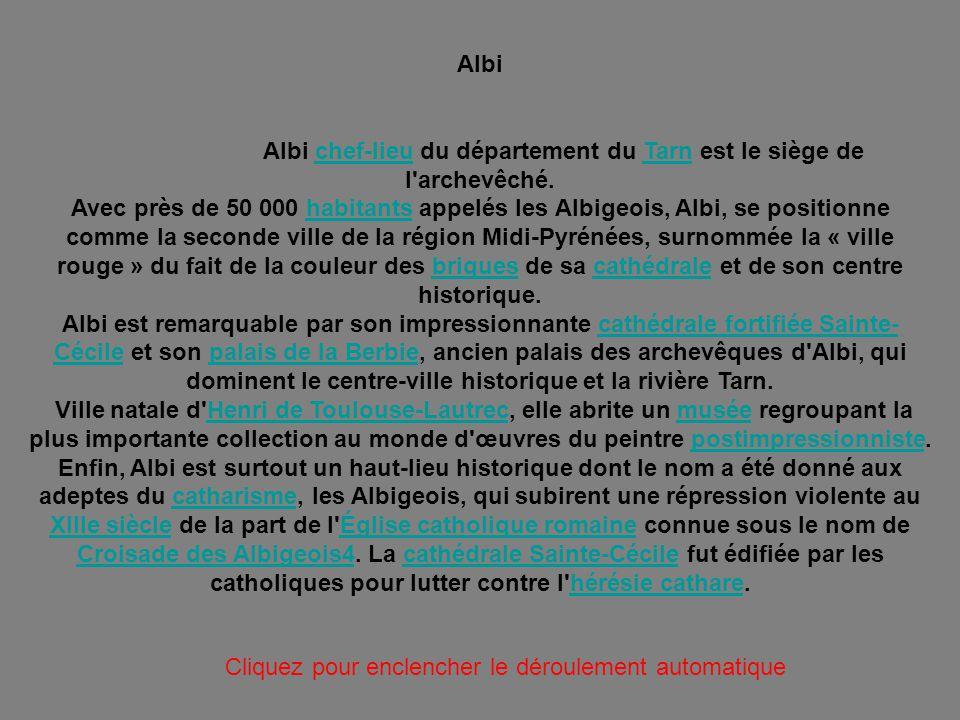 Albi chef-lieu du département du Tarn est le siège de l archevêché.
