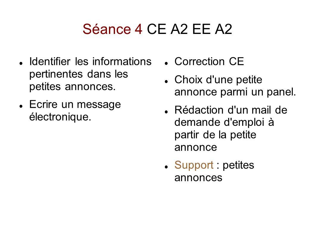 Séance 4 CE A2 EE A2Identifier les informations pertinentes dans les petites annonces. Ecrire un message électronique.
