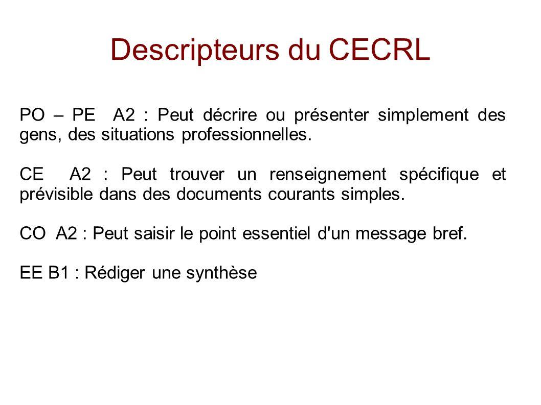 Descripteurs du CECRL PO – PE A2 : Peut décrire ou présenter simplement des gens, des situations professionnelles.
