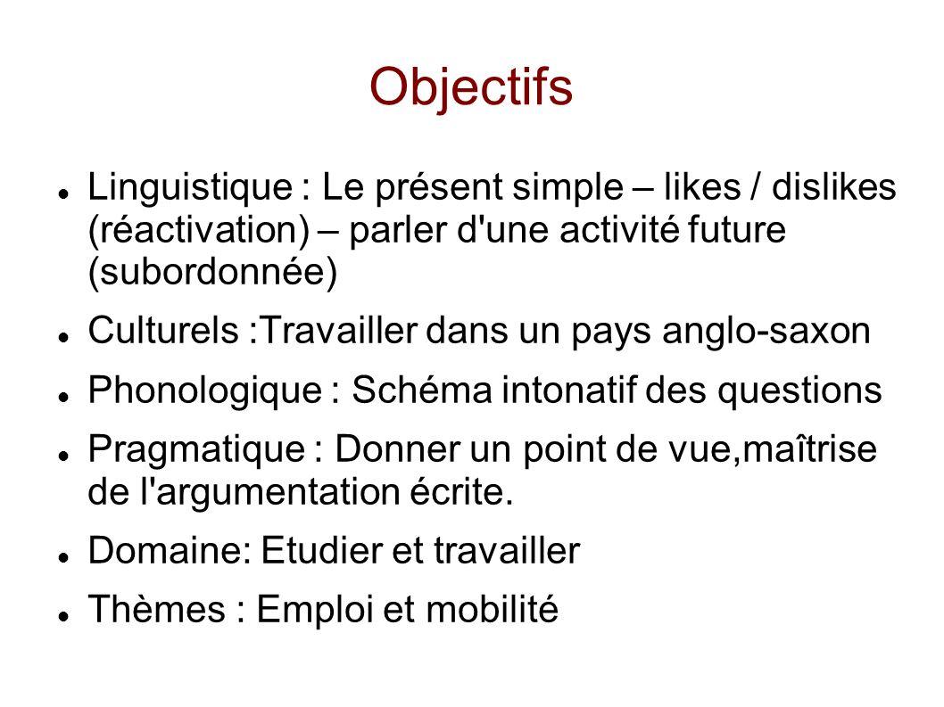 Objectifs Linguistique : Le présent simple – likes / dislikes (réactivation) – parler d une activité future (subordonnée)