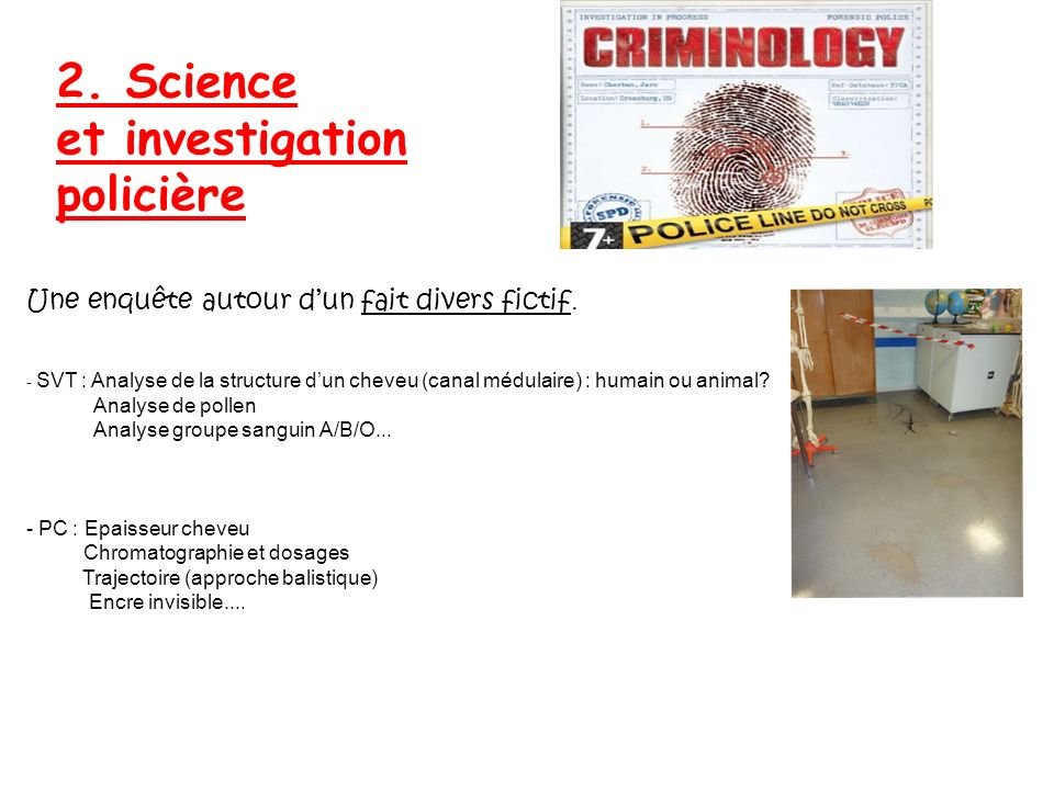 2. Science et investigation policière