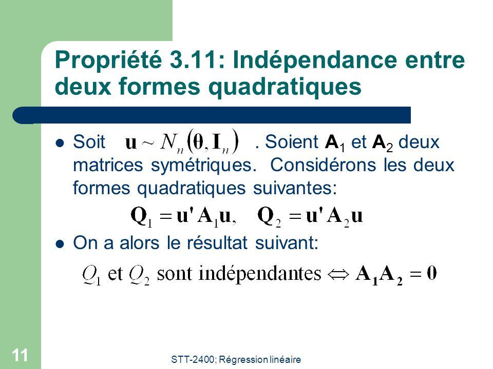 Propriété 3.11: Indépendance entre deux formes quadratiques