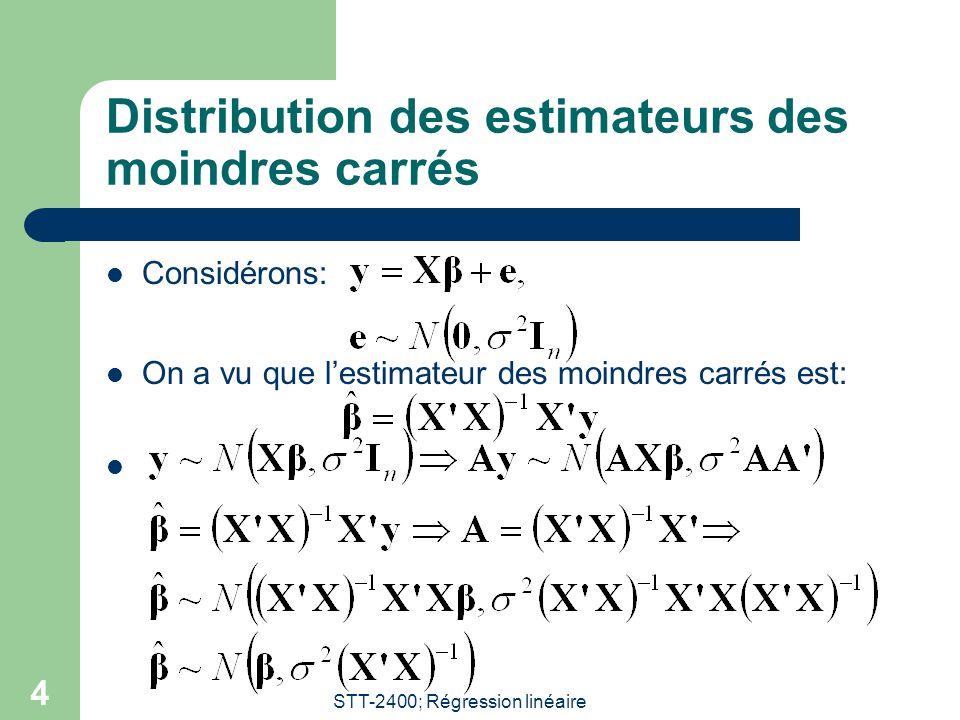Distribution des estimateurs des moindres carrés