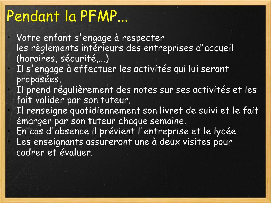 Pendant la PFMP... Votre enfant s engage à respecter les règlements intérieurs des entreprises d accueil (horaires, sécurité,...)