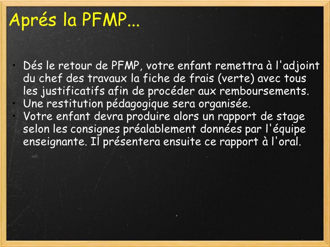 Aprés la PFMP...