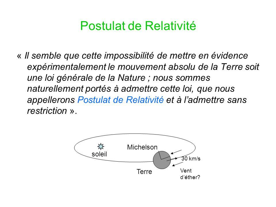 Postulat de Relativité
