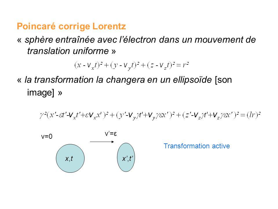 Poincaré corrige Lorentz