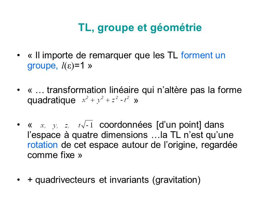 TL, groupe et géométrie « Il importe de remarquer que les TL forment un groupe, l(ε)=1 »