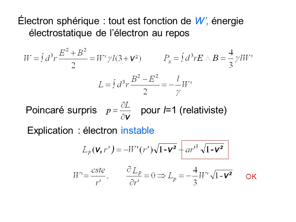 Explication : électron instable