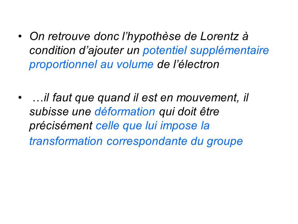 On retrouve donc l'hypothèse de Lorentz à condition d'ajouter un potentiel supplémentaire proportionnel au volume de l'électron