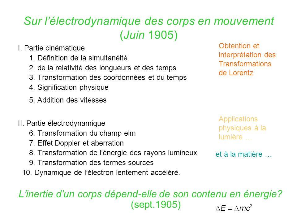 Sur l'électrodynamique des corps en mouvement (Juin 1905)