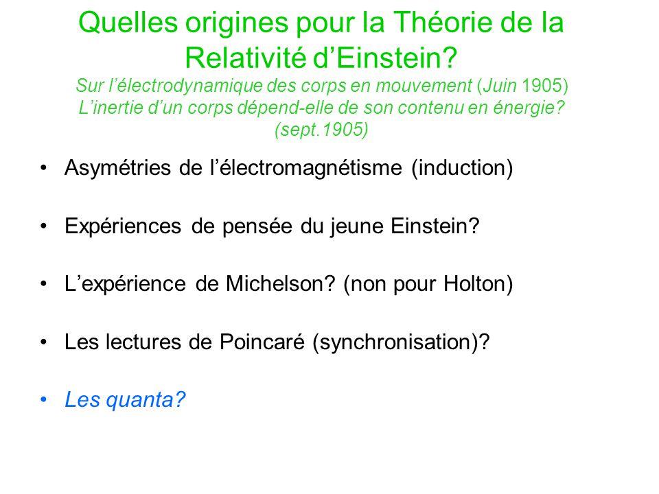 Quelles origines pour la Théorie de la Relativité d'Einstein