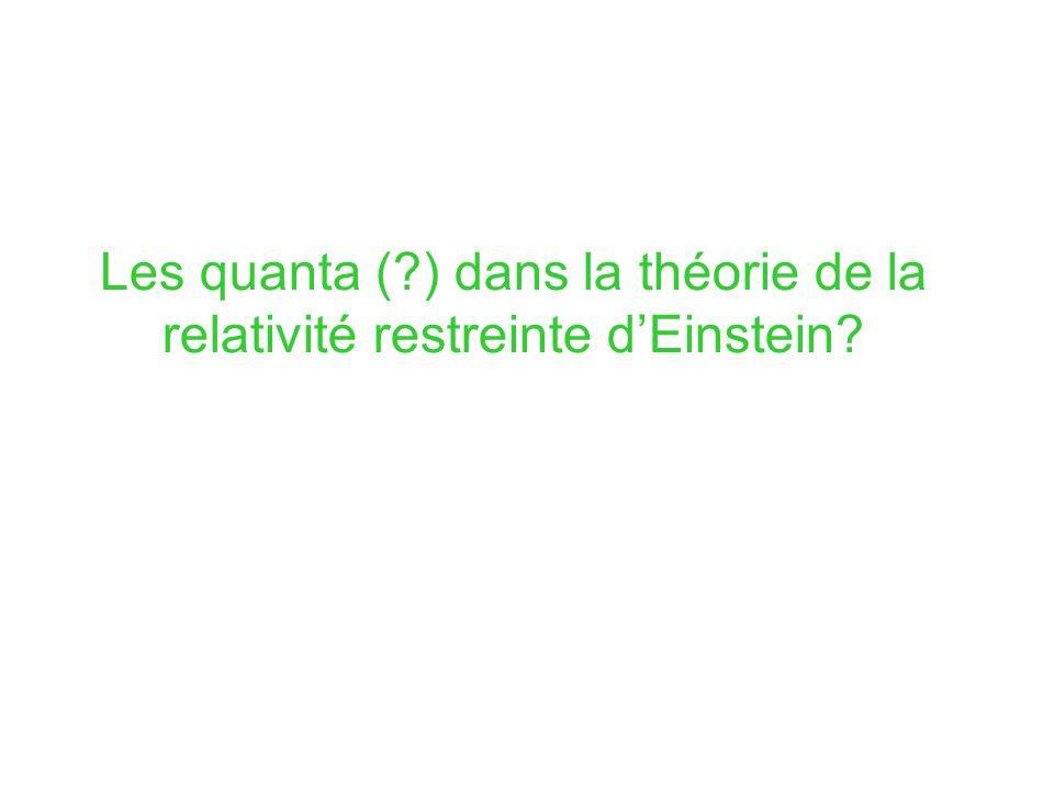 Les quanta ( ) dans la théorie de la relativité restreinte d'Einstein