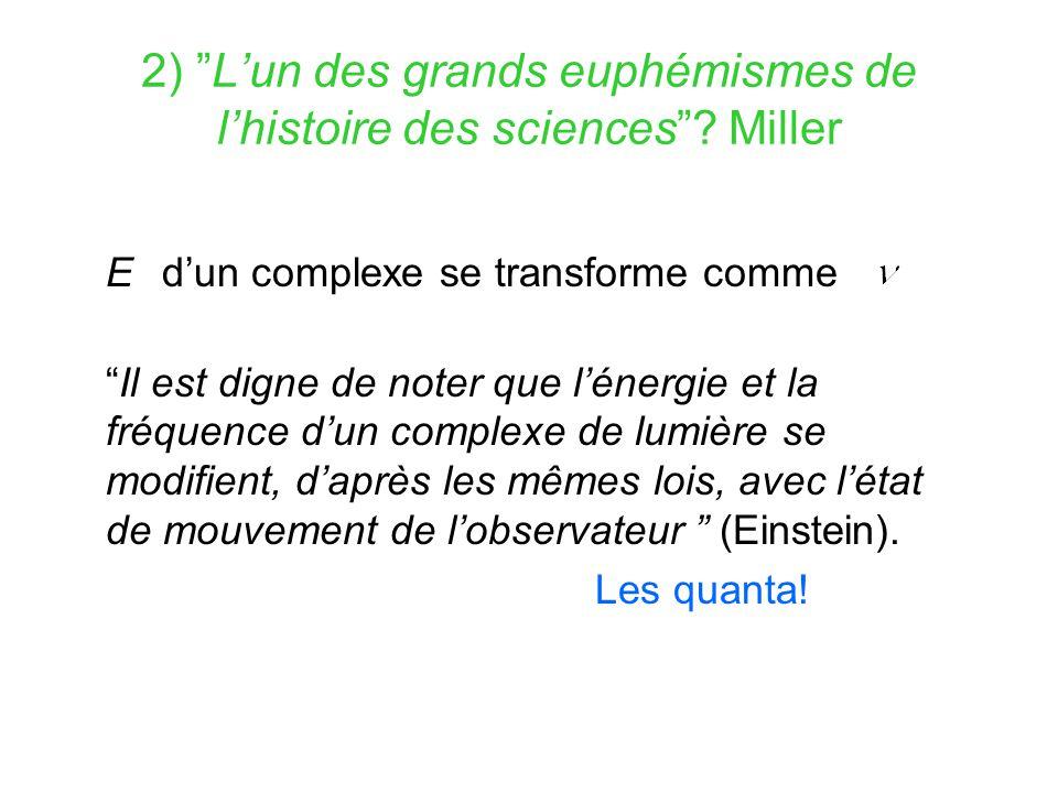 2) L'un des grands euphémismes de l'histoire des sciences Miller
