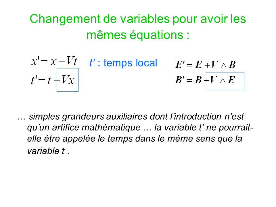 Changement de variables pour avoir les mêmes équations :