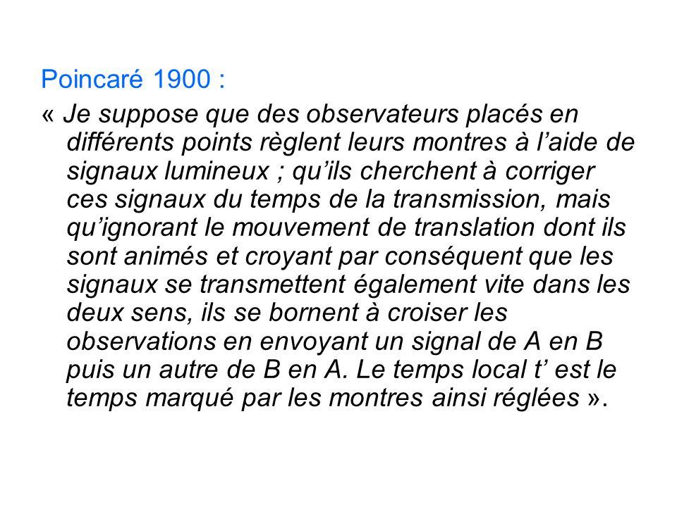 Poincaré 1900 :