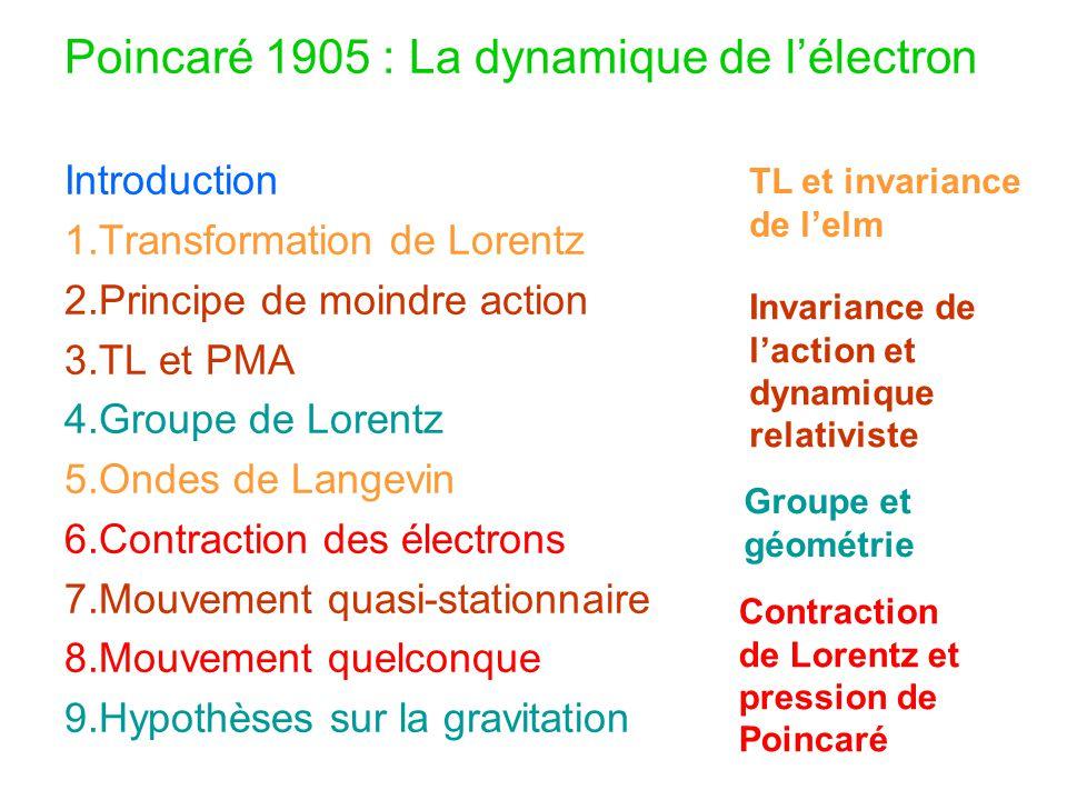 Poincaré 1905 : La dynamique de l'électron