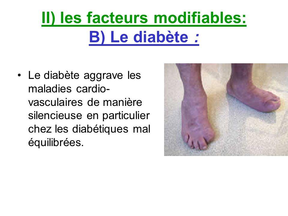 II) les facteurs modifiables: B) Le diabète :