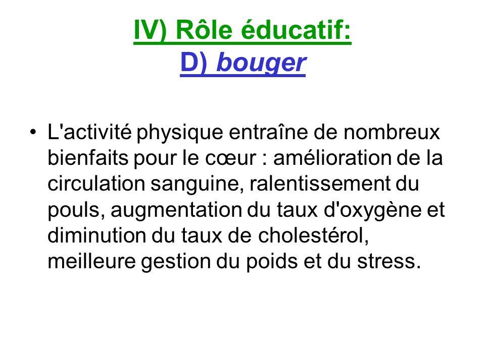 IV) Rôle éducatif: D) bouger