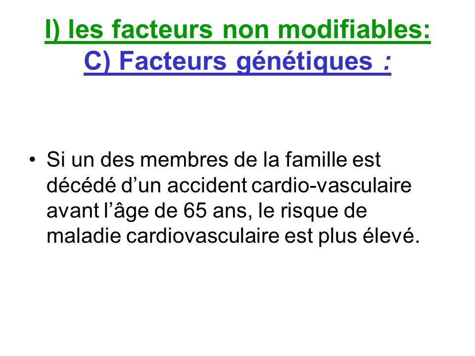 I) les facteurs non modifiables: C) Facteurs génétiques :