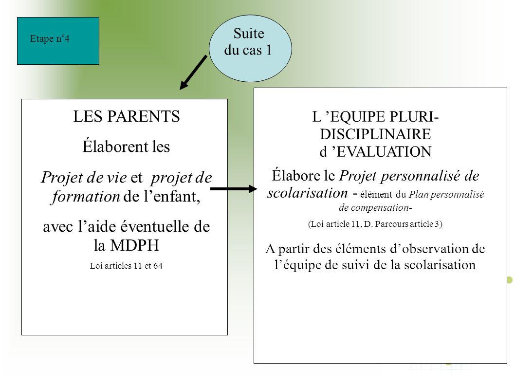 Projet de vie et projet de formation de l'enfant,