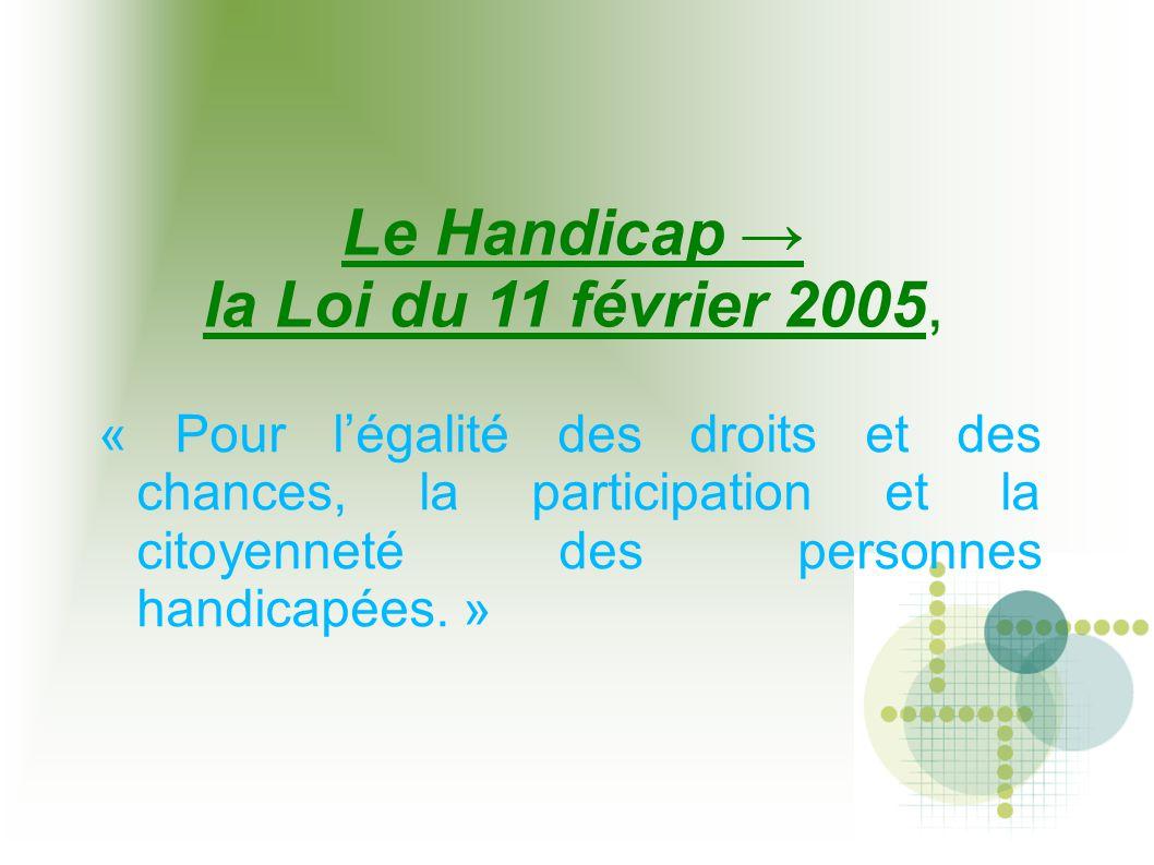 Le Handicap → la Loi du 11 février 2005,