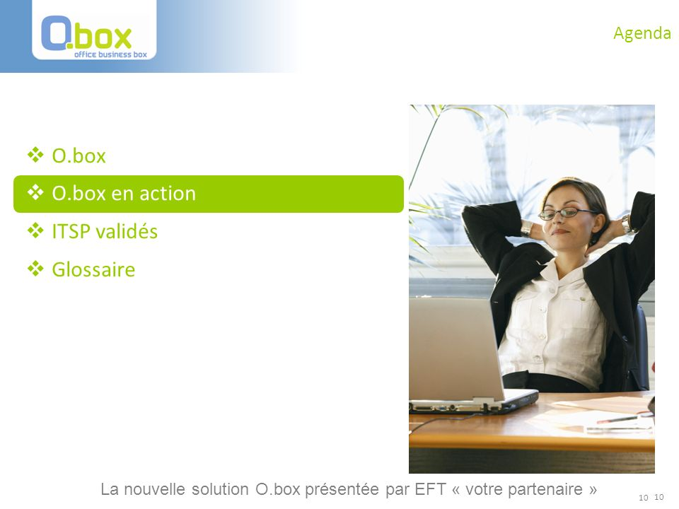 O.box O.box en action ITSP validés Glossaire Agenda