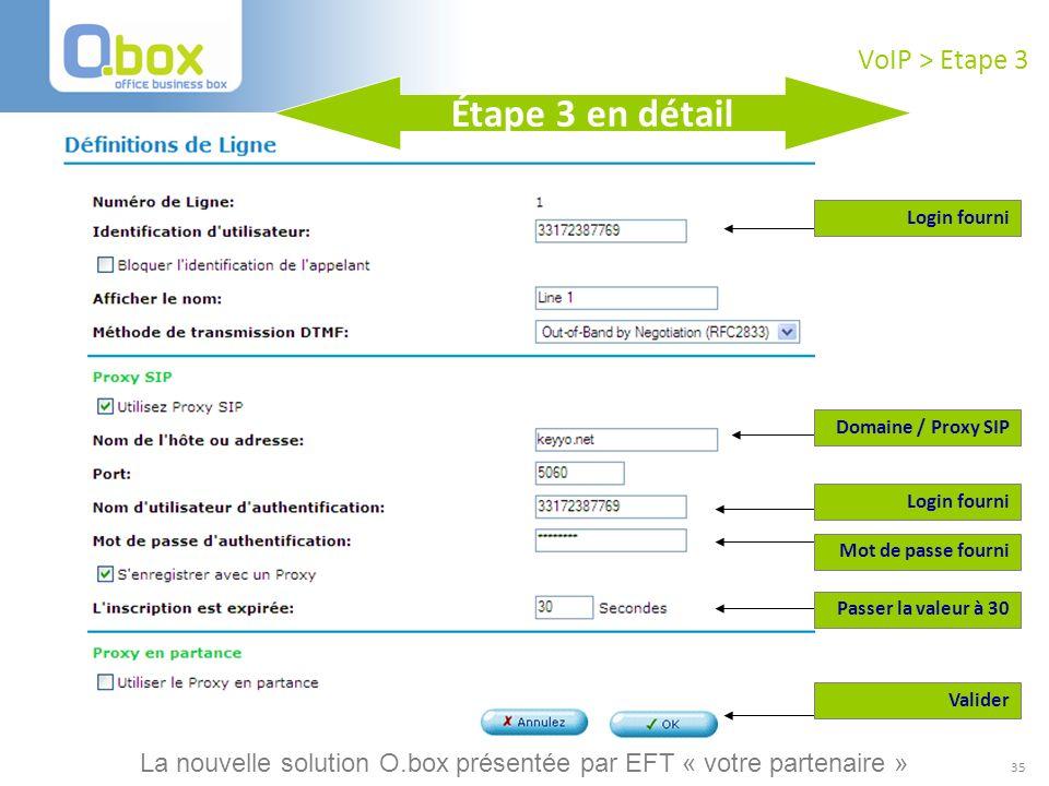 Étape 3 en détail VoIP > Etape 3